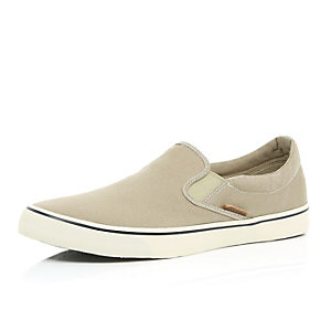 Ecru Jack & Jones slip on plimsolls