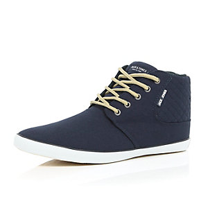 Navy Jack & Jones lace up boots