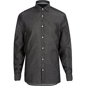 Grey washed denim long sleeve shirt