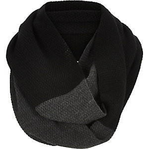 Black two colour twisted snood