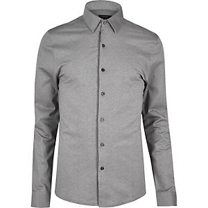 Grey cotton pique shirt