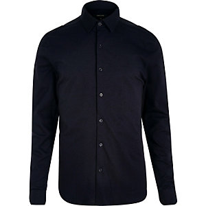 Blue cotton pique shirt