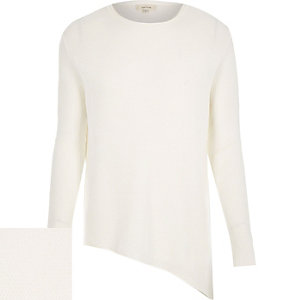 Ecru asymmetric hem sweater
