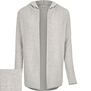 Grey plaited hooded cardigan