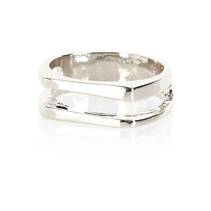 Silver tone double row ring