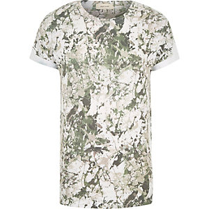 Dark green paint splatter print t-shirt
