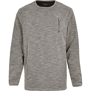 Grey marl zip pocket sweatshirt