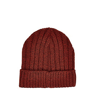 Orange ribbed beanie