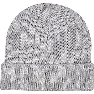 Light grey ribbed fisherman beanie hat