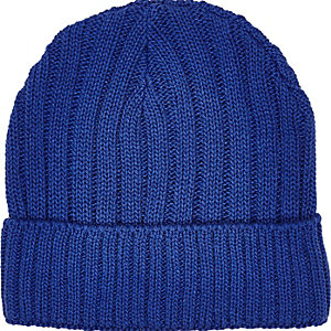 Blue ribbed fisherman beanie hat