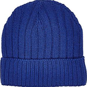 Blue ribbed fisherman beanie hat