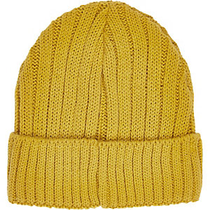 Yellow ribbed beanie