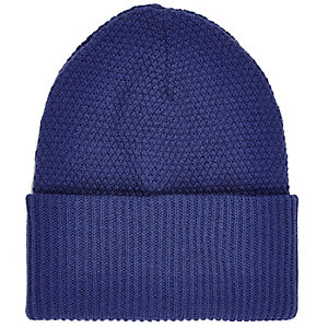 Navy blue turn up beanie hat