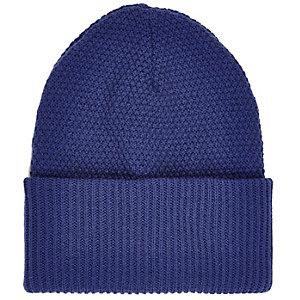 Navy blue turn up beanie hat