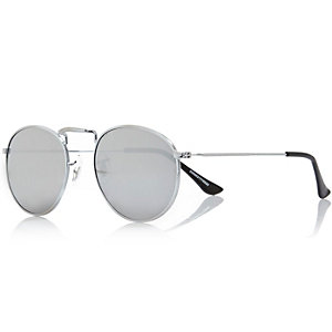 Grey round mirror lens sunglasses