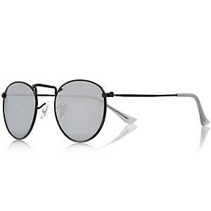 Matte grey round mirror lens sunglasses