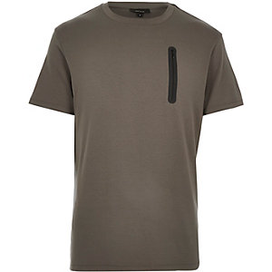 Grey pocket trim t-shirt