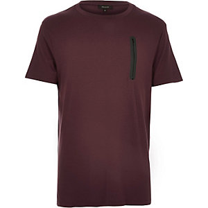 Dark red space dye zip pocket t-shirt