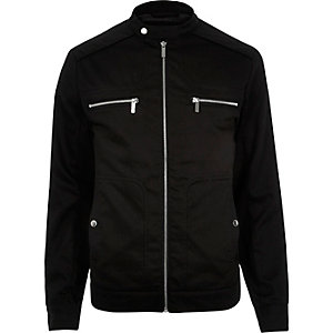Black large pocket bomber jacket