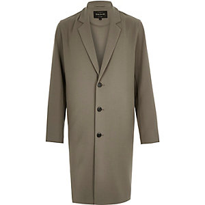 Taupe grey longline duster jacket