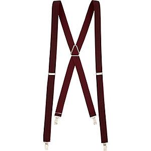 Burgundy herringbone suspenders