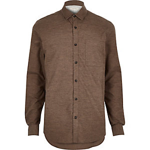 Brown marl flannel pocket shirt