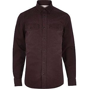 Red herringbone utility overshirt