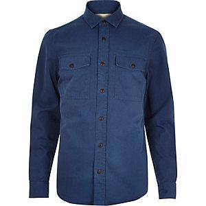 Blue herringbone utility overshirt