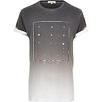 Grey Manhattan foil print fade t-shirt