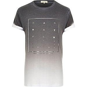 Grey Manhattan foil print fade t-shirt