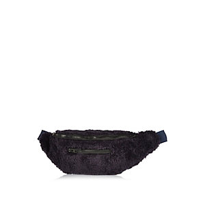 Navy Christopher Shannon faux fur bum bag