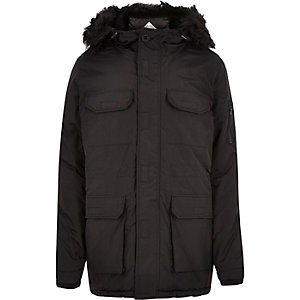 Black Bellfield faux fur parka coat