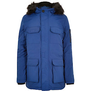 Blue Bellfield faux fur parka coat