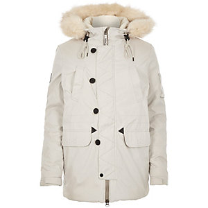 White Bellfield faux-fur parka winter coat