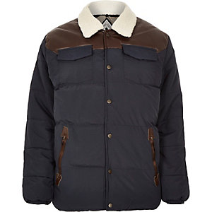 Navy Bellfield padded winter jacket
