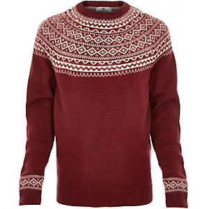 Red Bellfield fairisle knitted jumper