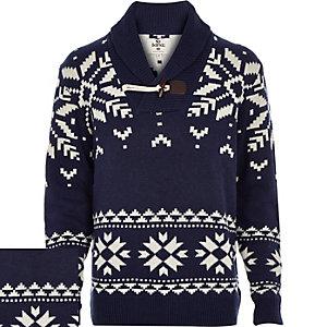 Navy Bellfield snowflake knitted shawl juper