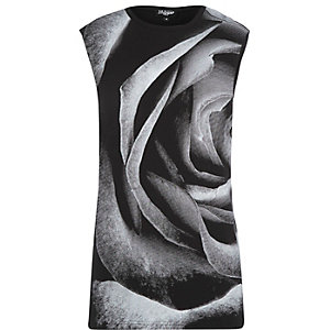 Black Jaded rose print vest