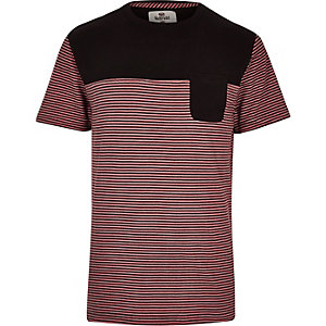 Red Bellfield stripe panel t-shirt