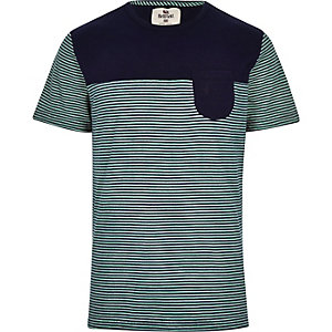 Blue Bellfield stripe panel t-shirt
