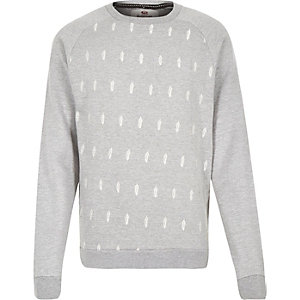 Grey Bellfield feather print sweatshirt