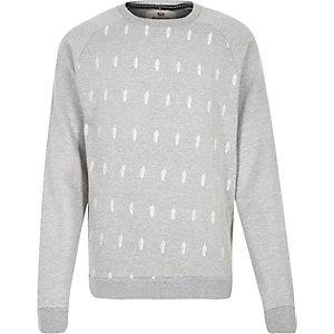 Grey Bellfield feather print sweatshirt