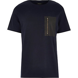 Navy leather-look zip pocket t-shirt