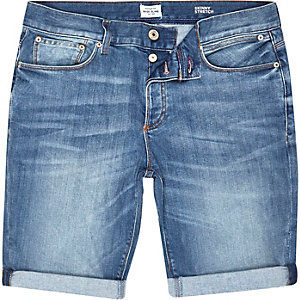 Medium vintage wash denim shorts