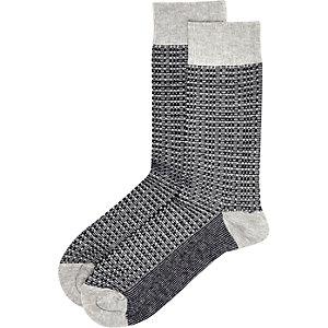 Blue printed ankle socks