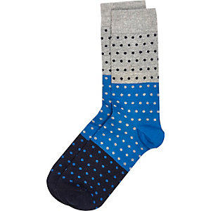 Grey block colour polka dot socks