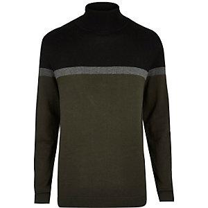 Dark green colour block roll neck jumper