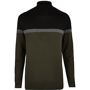 Dark green color block roll neck sweater