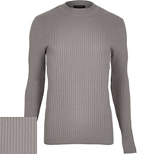 Grey ribbed stand neck jumper