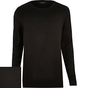 Black crew neck ribbed side jumper